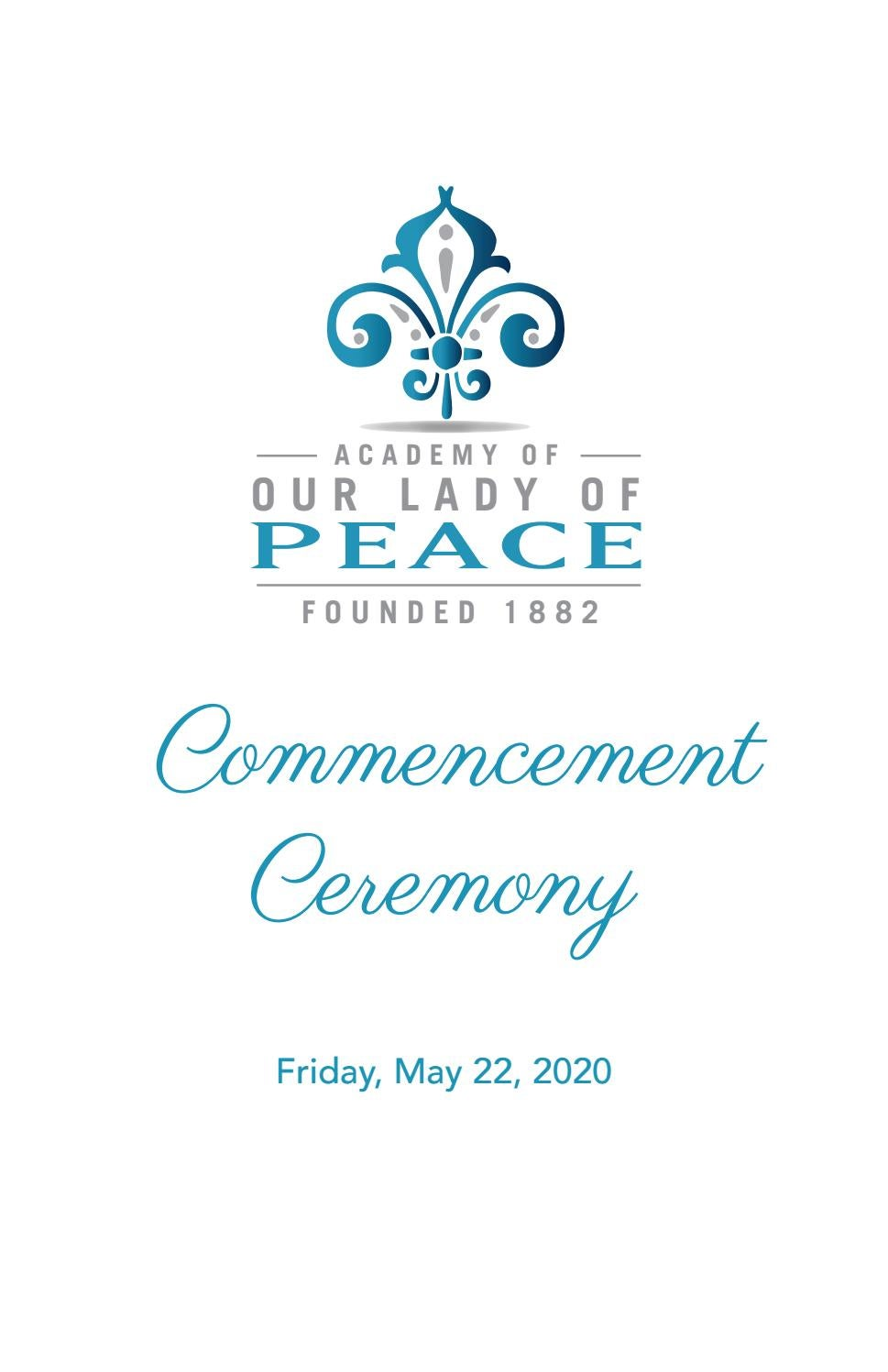 class of 2020 commencement program by academy of our lady of peace issuu class of 2020 commencement program by