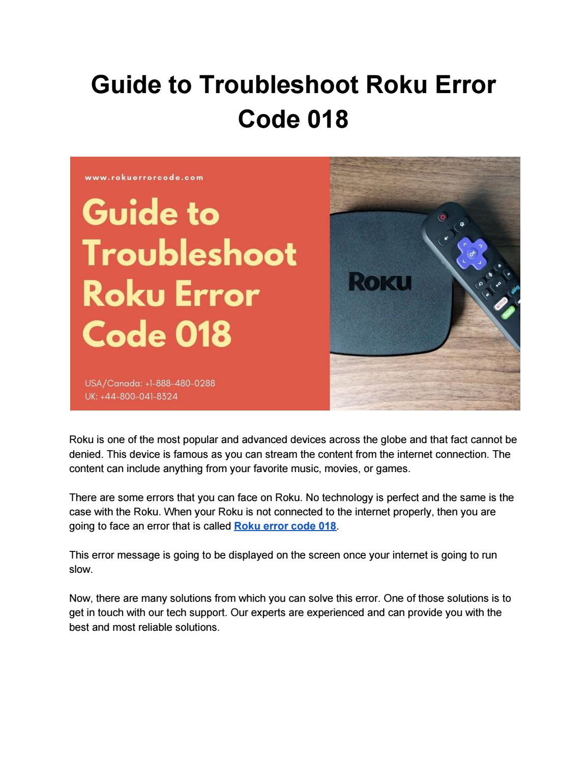 Solution For Roku Device Error Code 018 By Jmacc7624 Issuu