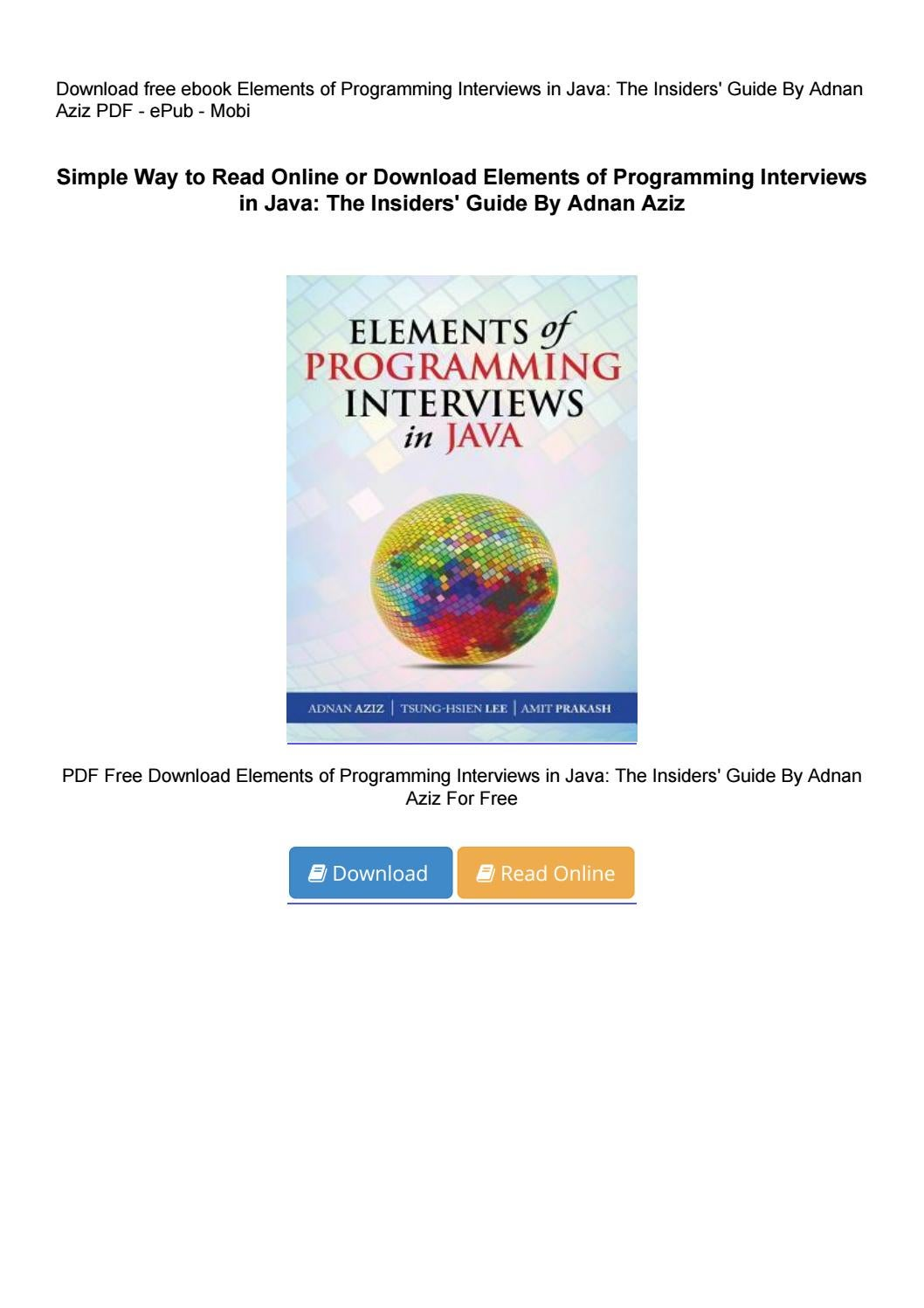 algorithms for interviews adnan aziz pdf free download