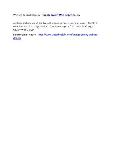 Website Design Company Orange County Web Design Agency By Cristiano Ronaldo Issuu