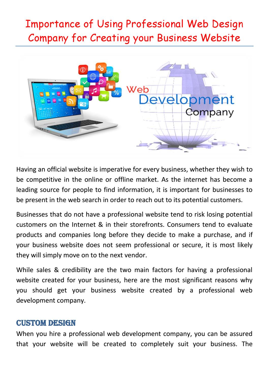 Importance Of Using Professional Web Design Company For Creating Your Business Website By Linda Hudson Issuu