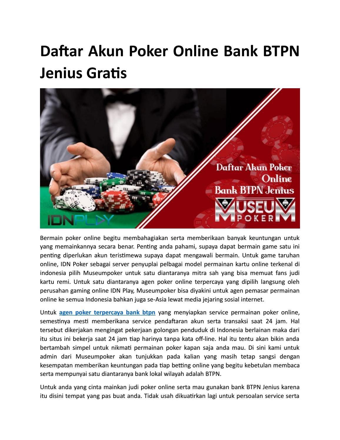 Daftar Akun Poker Online Bank Btpn Jenius Gratis By Calista Fiona Issuu