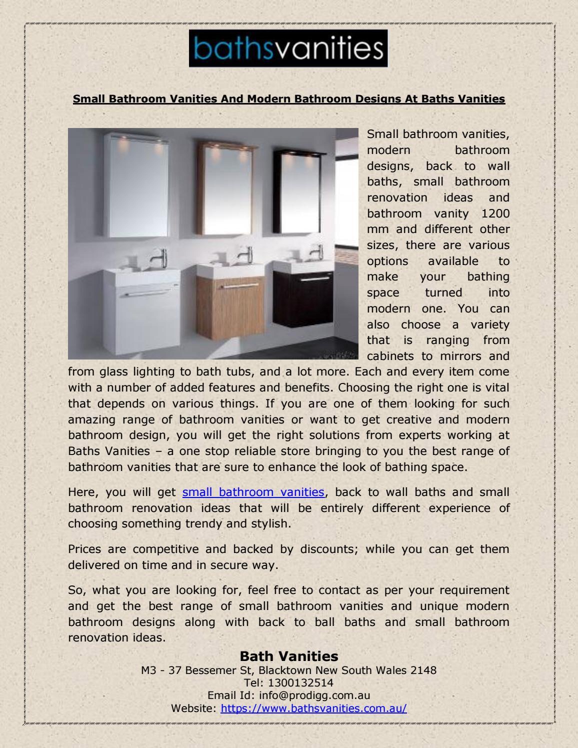 Small Bathroom Vanities And Modern Bathroom Designs At Baths Vanities By Baths Vanities Issuu