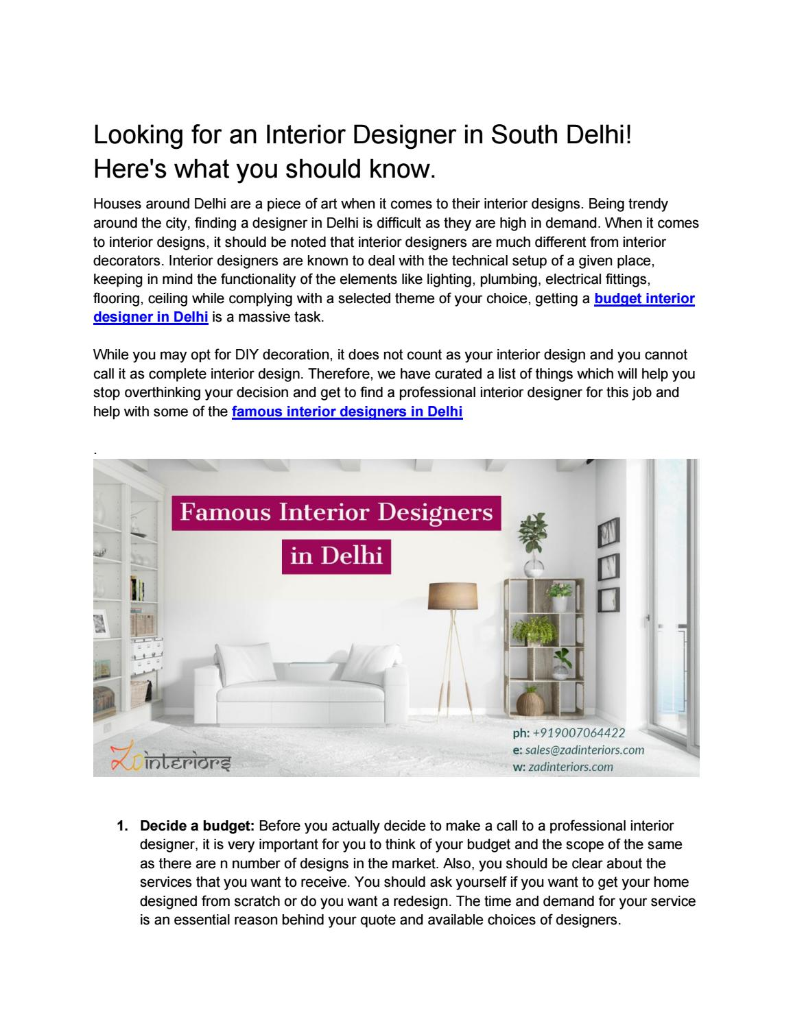 Looking For An Interior Designer In Delhi Here S What You Should Know By Shipra Ojha Issuu