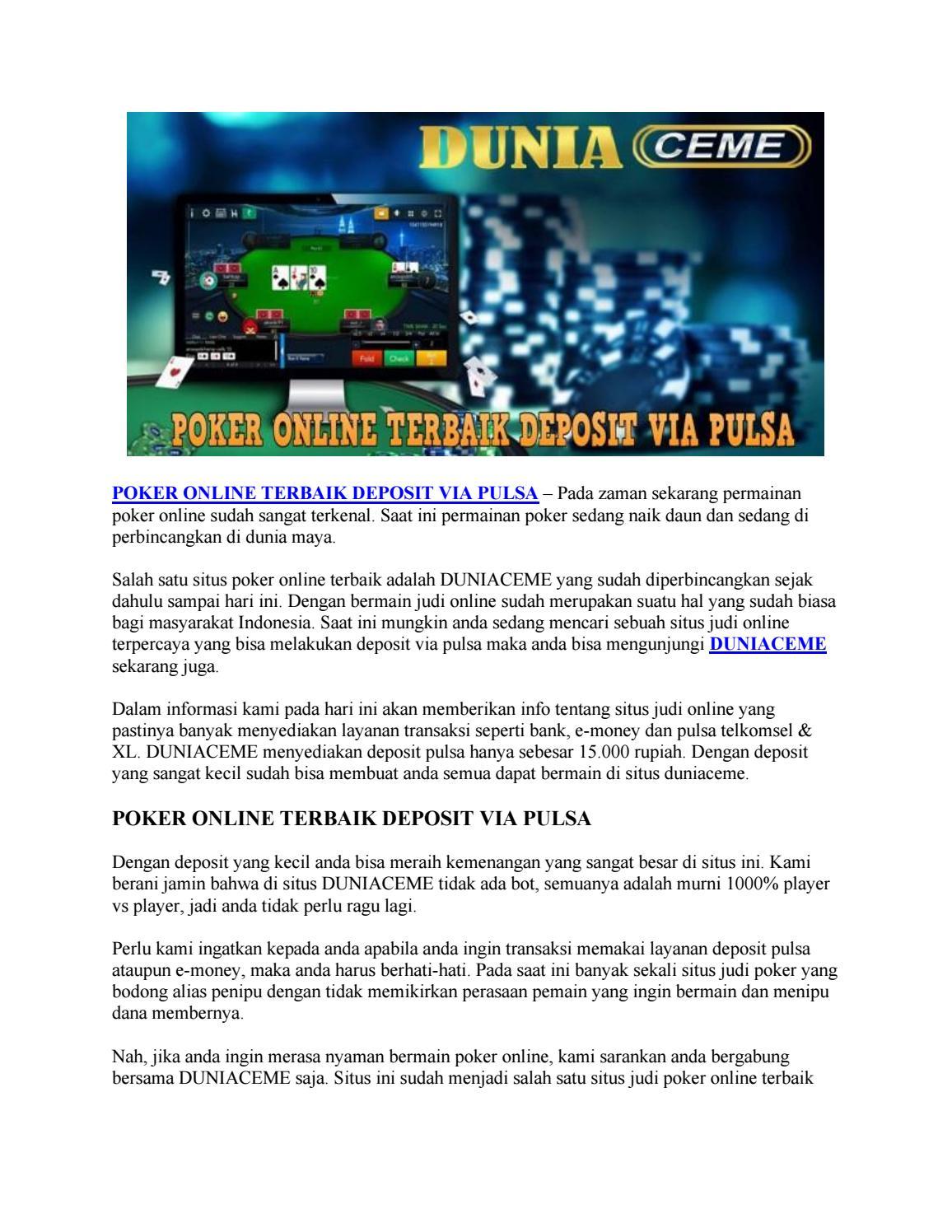 Poker Online Terbaik Deposit Via Pulsa By Pulsa Idnpoker Issuu