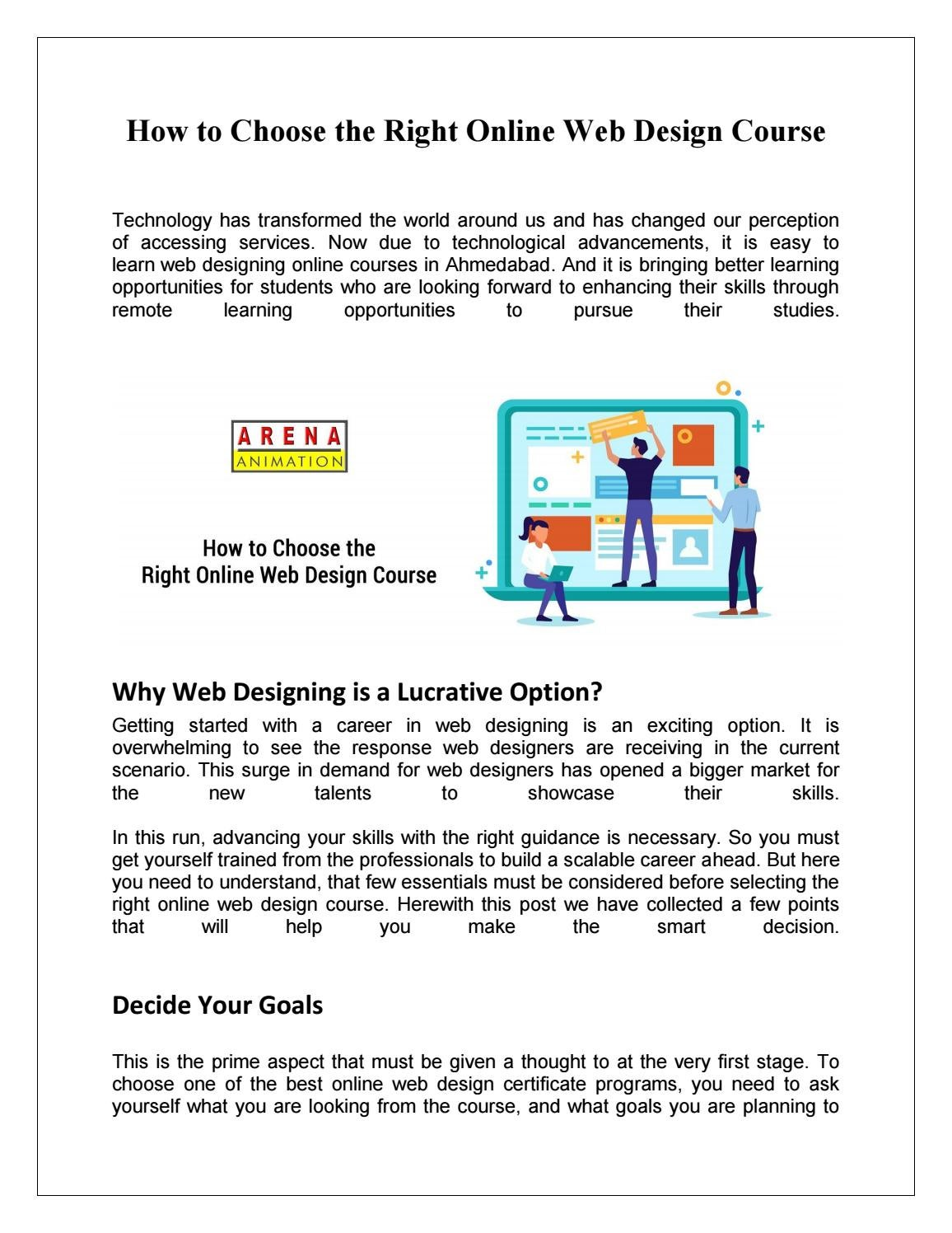 Web Design Training Institutes In Ahmedabad By Arena Animation Issuu