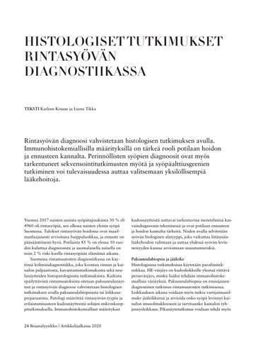 Page 24 of HISTOLOGISET TUTKIMUKSET RINTASYÖVÄN DIAGNOSTIIKASSA