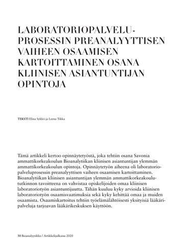 Page 30 of LABORATORIOPALVELUPROSESSIN PREANALYYTTISEN VAIHEEN OSAAMISEN KARTOITTAMINEN OSANA KLIINISEN ASIANTUNTIJAN OPINTOJA
