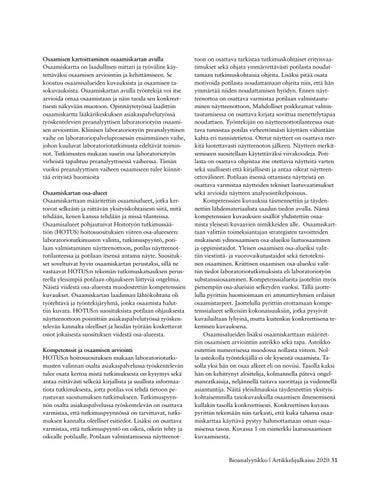 Page 31 of LABORATORIOPALVELUPROSESSIN PREANALYYTTISEN VAIHEEN OSAAMISEN KARTOITTAMINEN OSANA KLIINISEN ASIANTUNTIJAN OPINTOJA