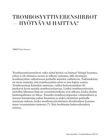 Page 35 of TROMBOSYYTTIVERENSIIRROT — HYÖTYÄ VAI HAITTAA?