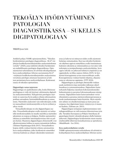 Page 49 of TEKOÄLYN HYÖDYNTÄMINEN PATOLOGIAN DIAGNOSTIIKASSA – SUKELLUS DIGIPATOLOGIAAN