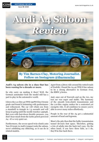 Page 18 of Motoring Review Audi A4 Saloon