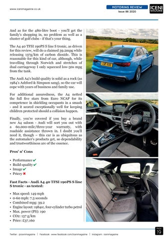 Page 19 of Motoring Review Audi A4 Saloon