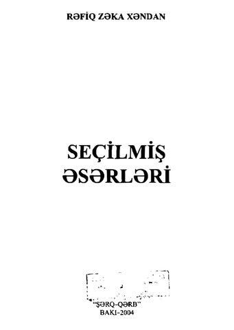 Refik Zeka Handan Secilmis Eserleri By Turkcu Betik Issuu