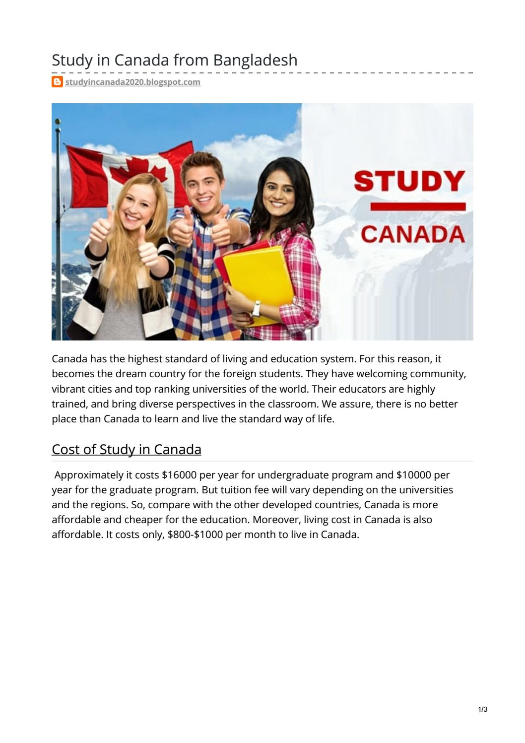 Study In Canada From Bangladesh By Azhaq73 Issuu