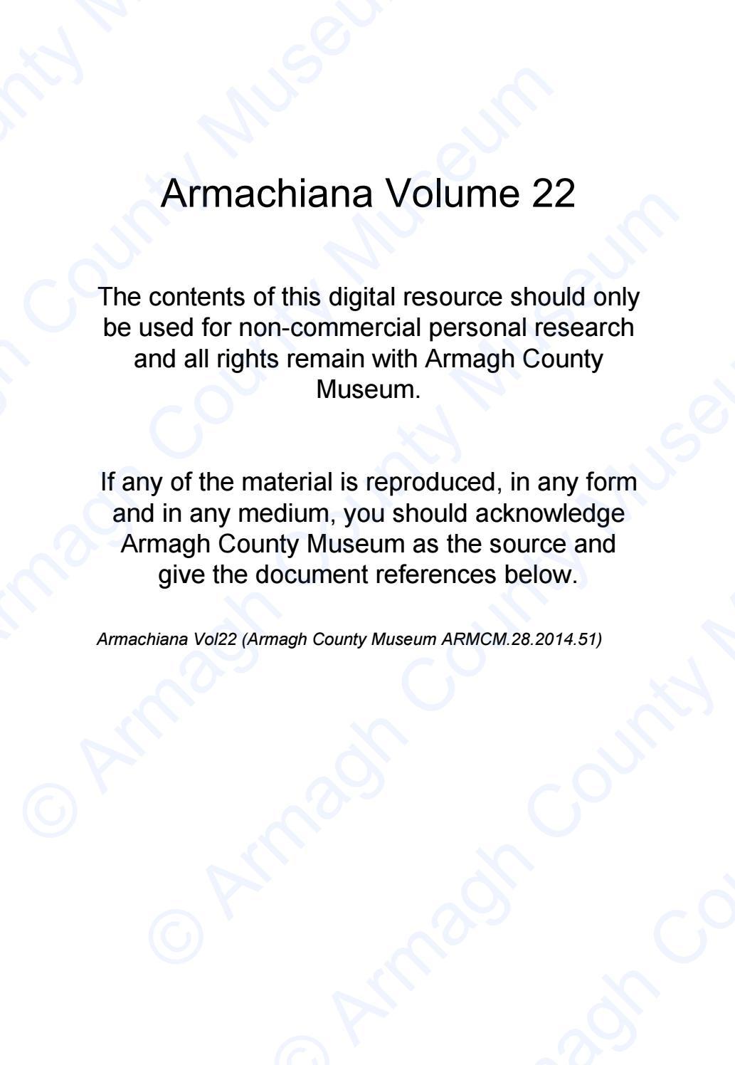 Armachiana Volume 22 By Armagh City Banbridge Craigavon Borough Council Issuu