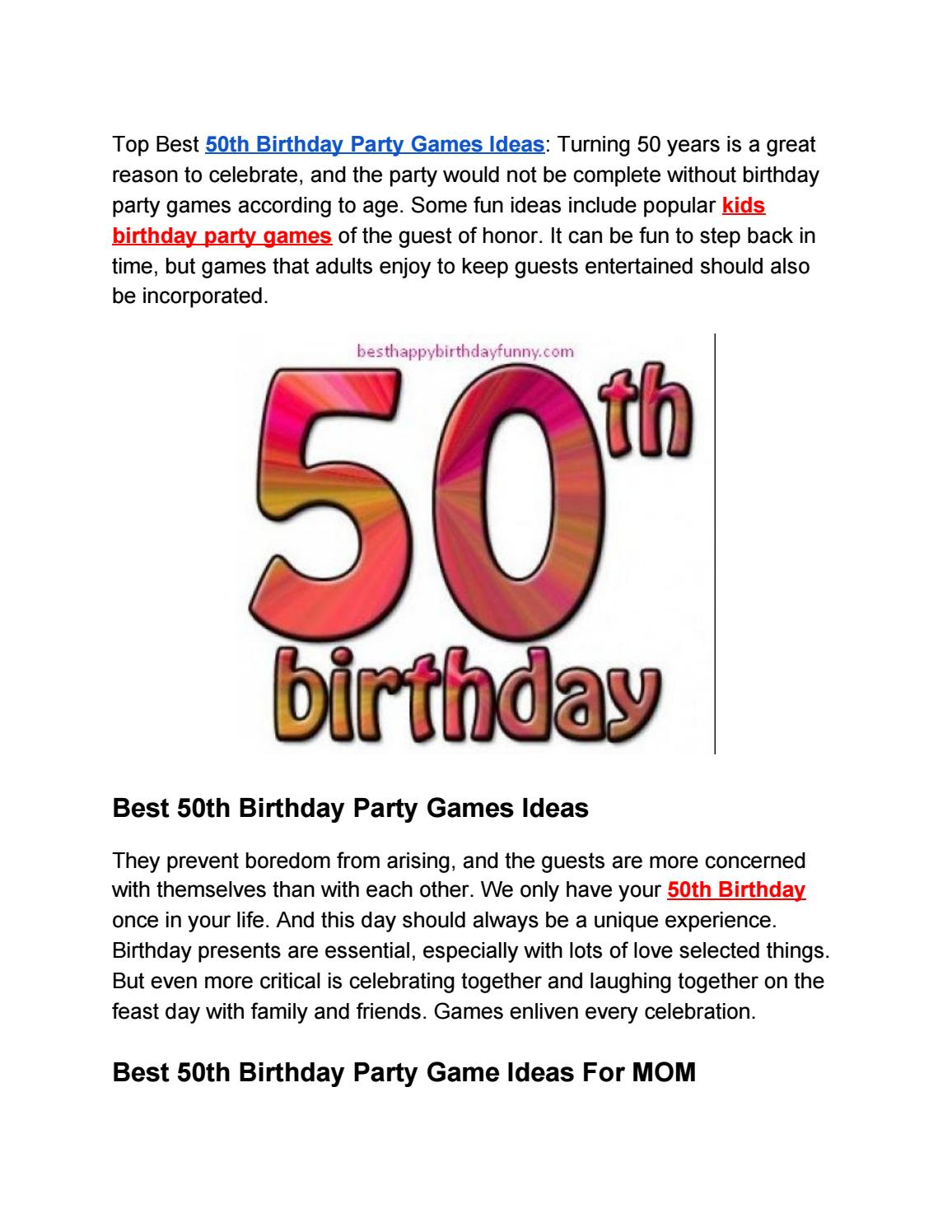 Best 50th Birthday Party Games Ideas Of 2020 By Happy Birthday To You Issuu