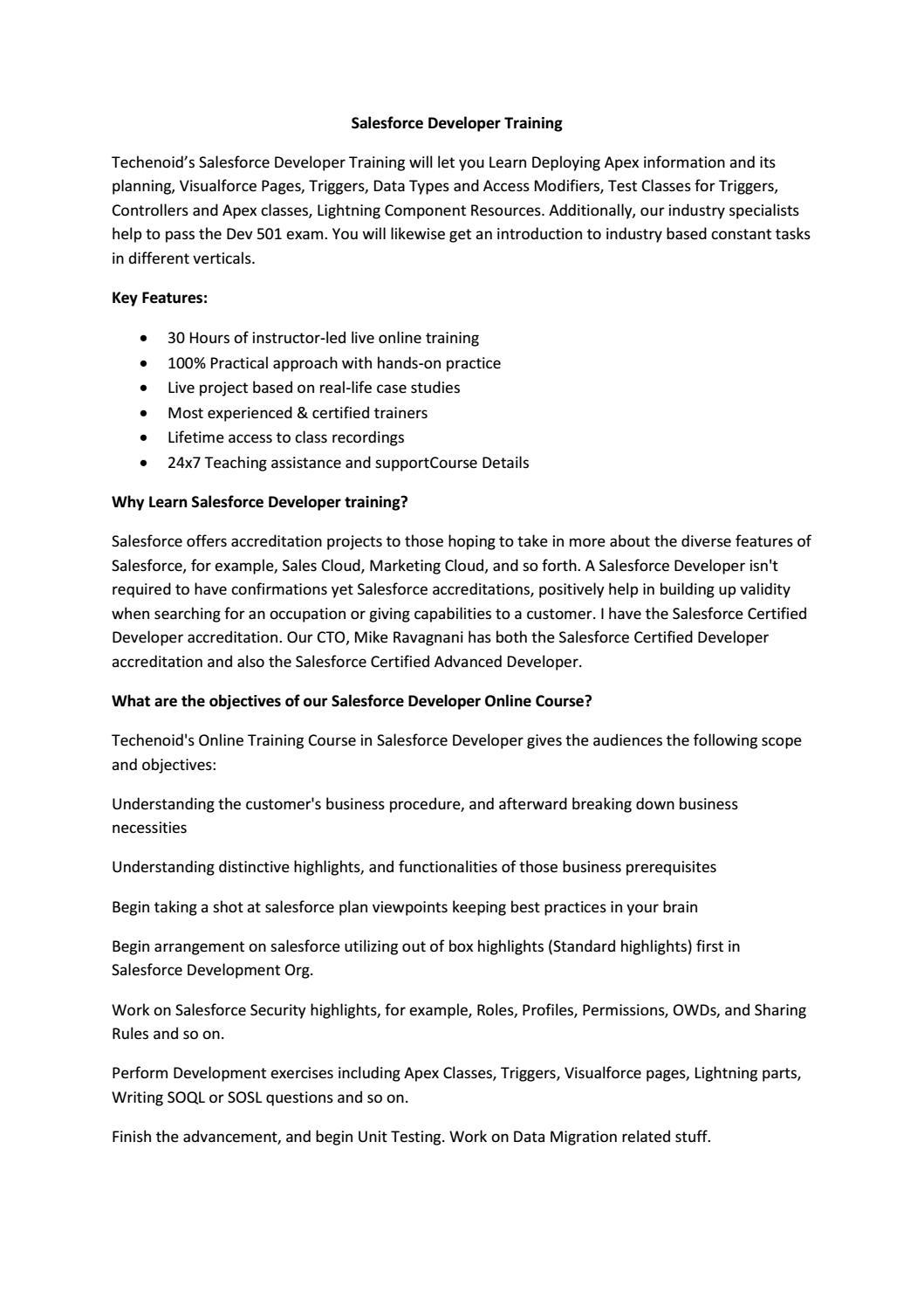 What Is Salesforce Developer By Sindhu Technoid Issuu