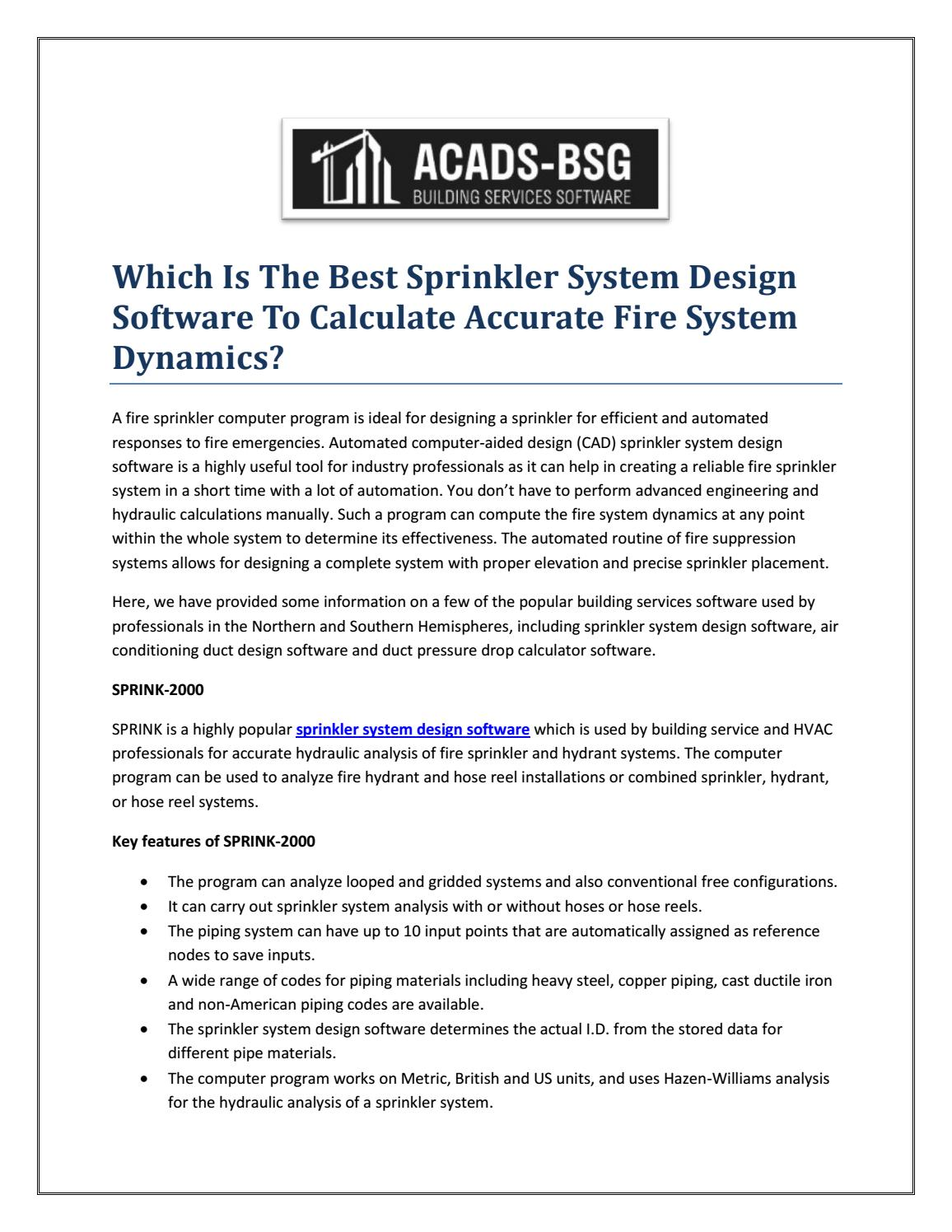 Which Is The Best Sprinkler System Design Software To Calculate Accurate Fire System Dynamics By Acads Bsg Issuu