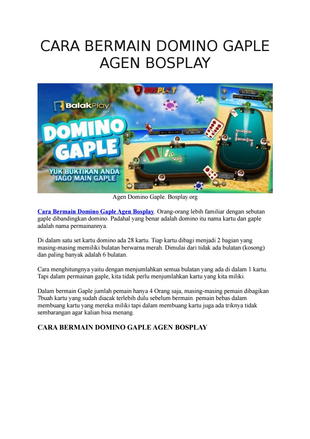 Cara Bermain Domino Agen Bosplay By Bosplay Issuu