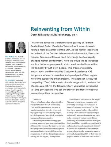 Page 30 of Reinventing from Within; Don't talk about cultural change, do it