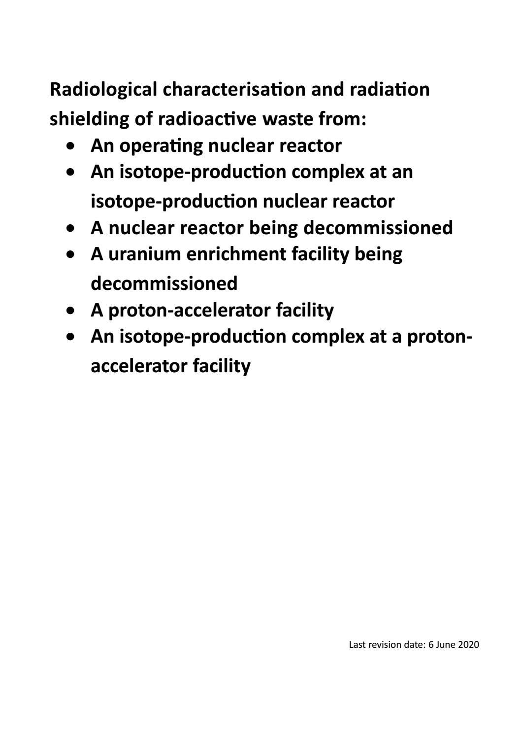 RADIOACTIVE WASTE: COMPUTATIONAL CHARACTERISATION and SHIELDING page 1