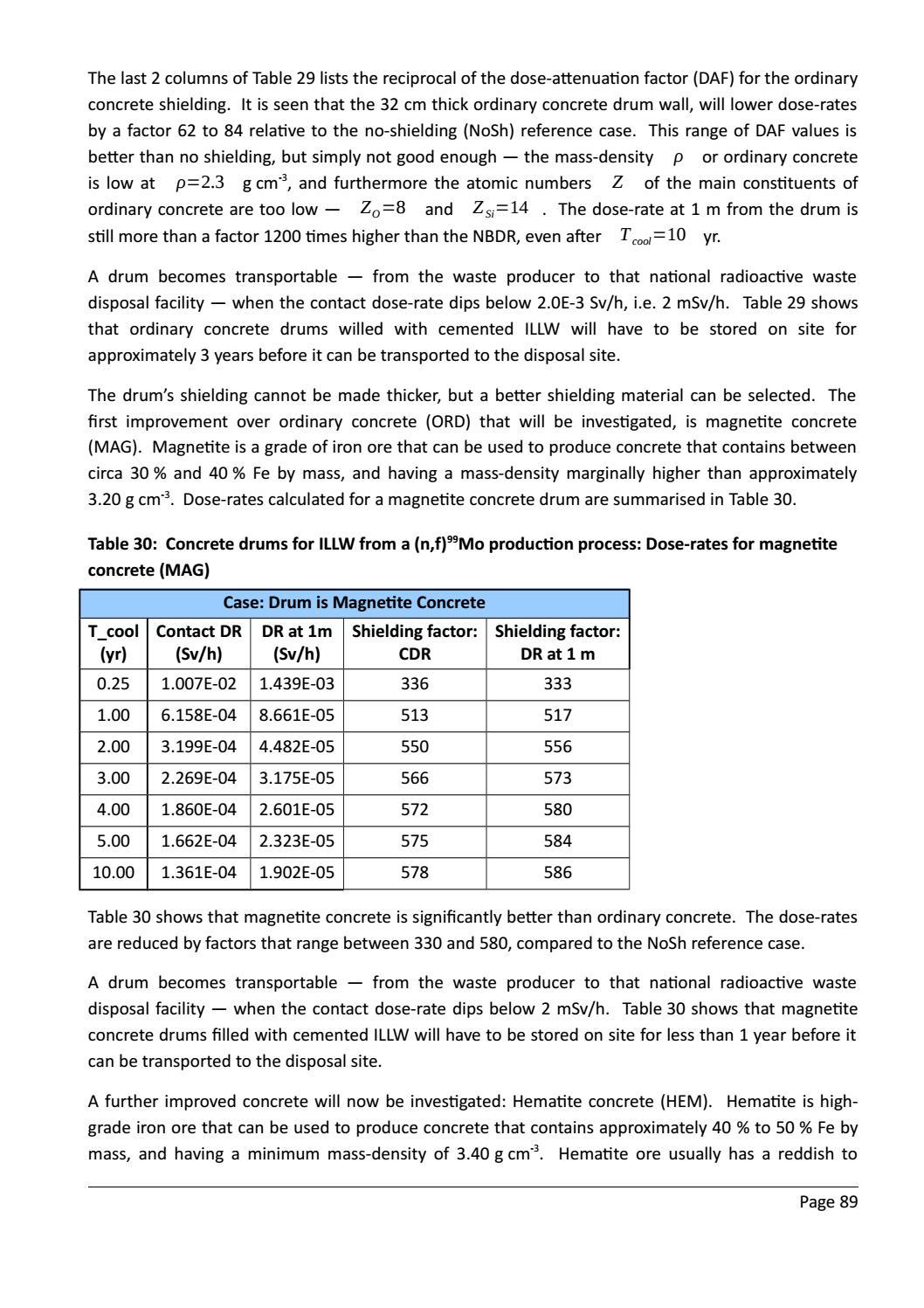 RADIOACTIVE WASTE: COMPUTATIONAL CHARACTERISATION and SHIELDING page 114