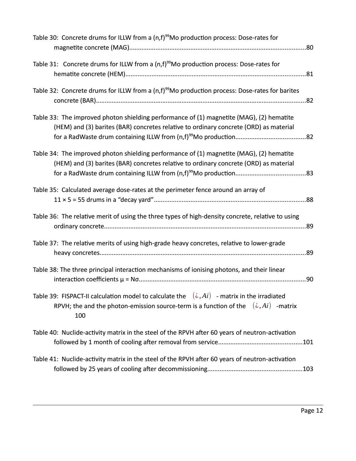 RADIOACTIVE WASTE: COMPUTATIONAL CHARACTERISATION and SHIELDING page 12