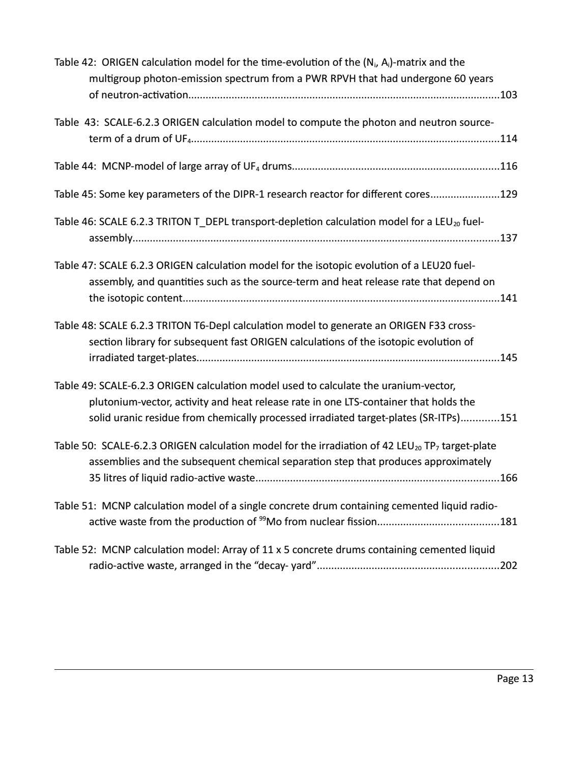 RADIOACTIVE WASTE: COMPUTATIONAL CHARACTERISATION and SHIELDING page 13