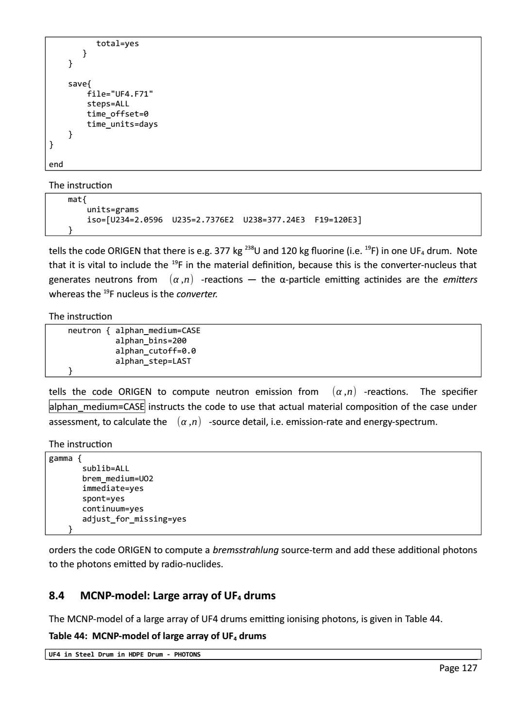 RADIOACTIVE WASTE: COMPUTATIONAL CHARACTERISATION and SHIELDING page 152