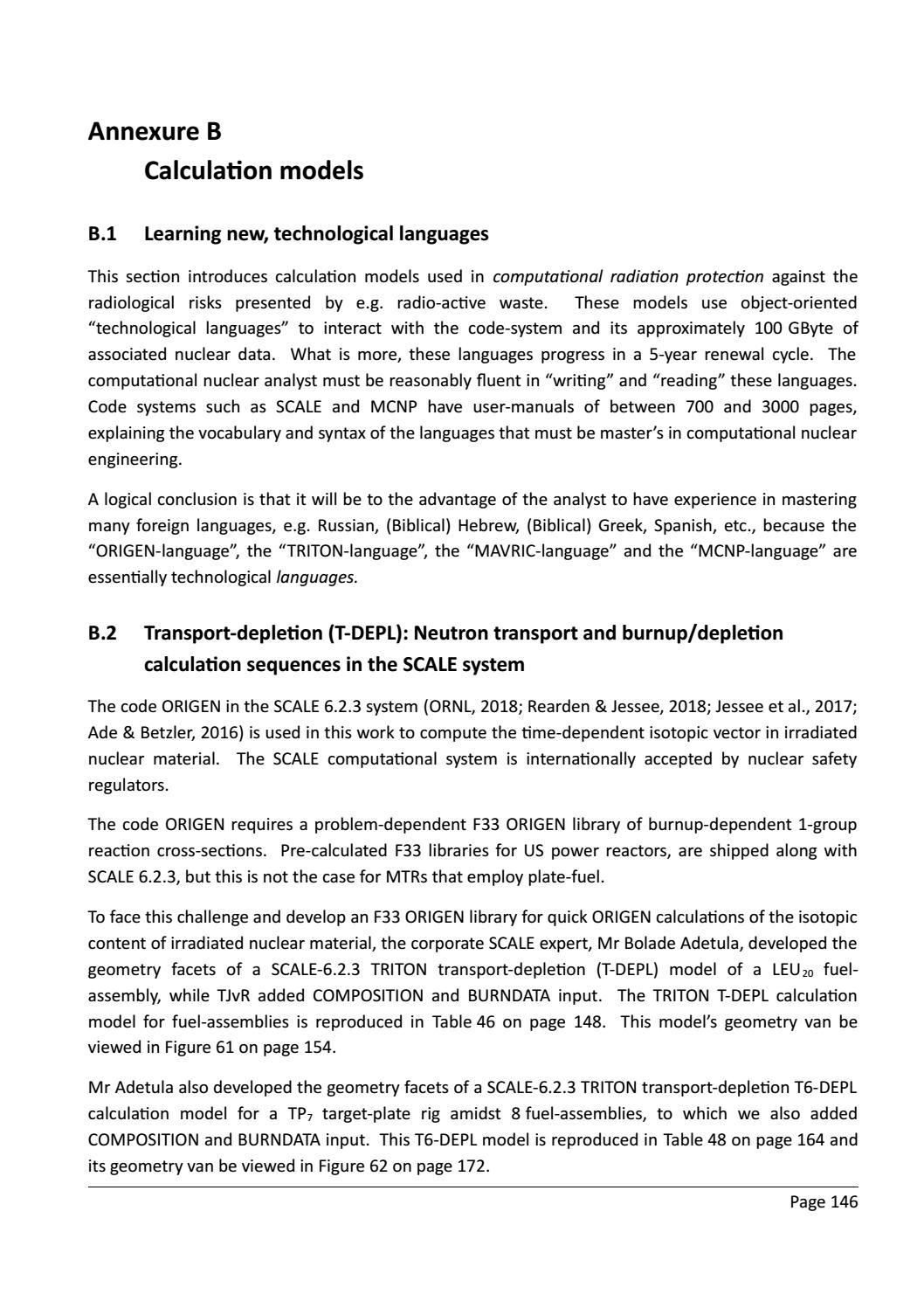 RADIOACTIVE WASTE: COMPUTATIONAL CHARACTERISATION and SHIELDING page 171