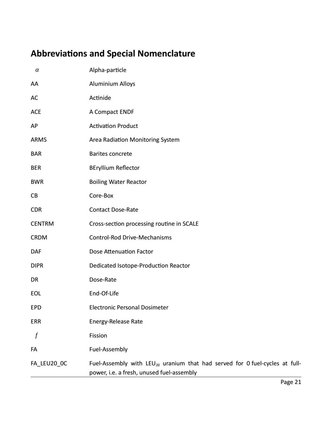RADIOACTIVE WASTE: COMPUTATIONAL CHARACTERISATION and SHIELDING page 21