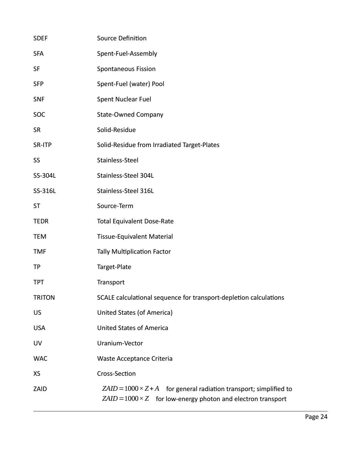 RADIOACTIVE WASTE: COMPUTATIONAL CHARACTERISATION and SHIELDING page 24