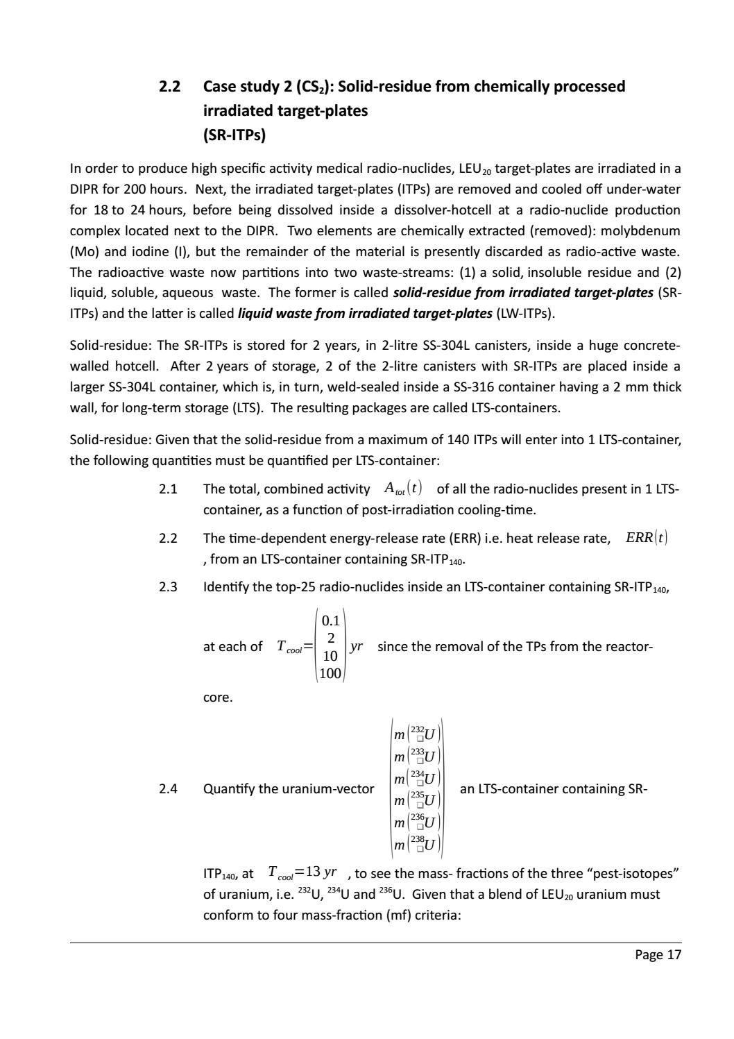 RADIOACTIVE WASTE: COMPUTATIONAL CHARACTERISATION and SHIELDING page 42