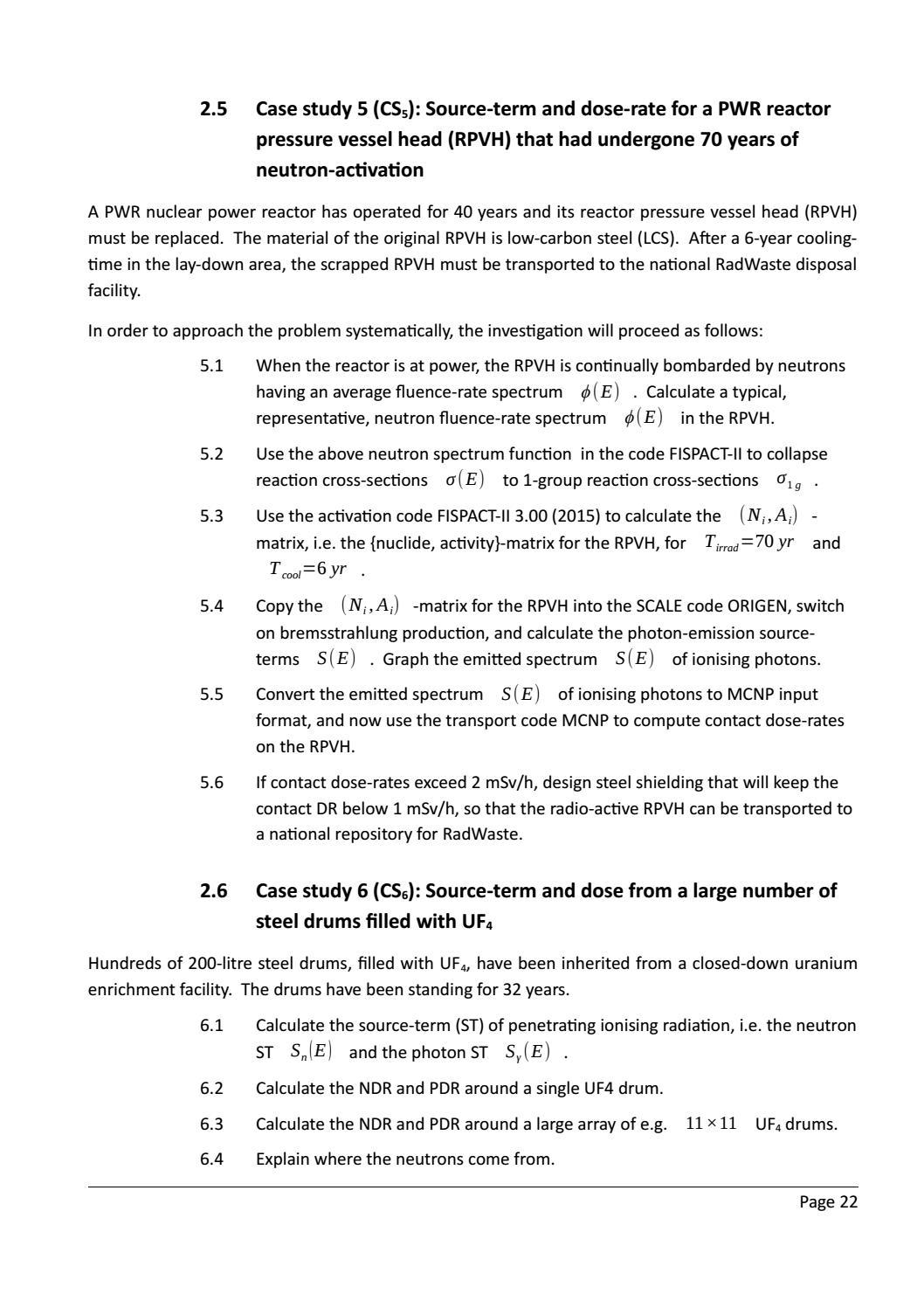 RADIOACTIVE WASTE: COMPUTATIONAL CHARACTERISATION and SHIELDING page 47