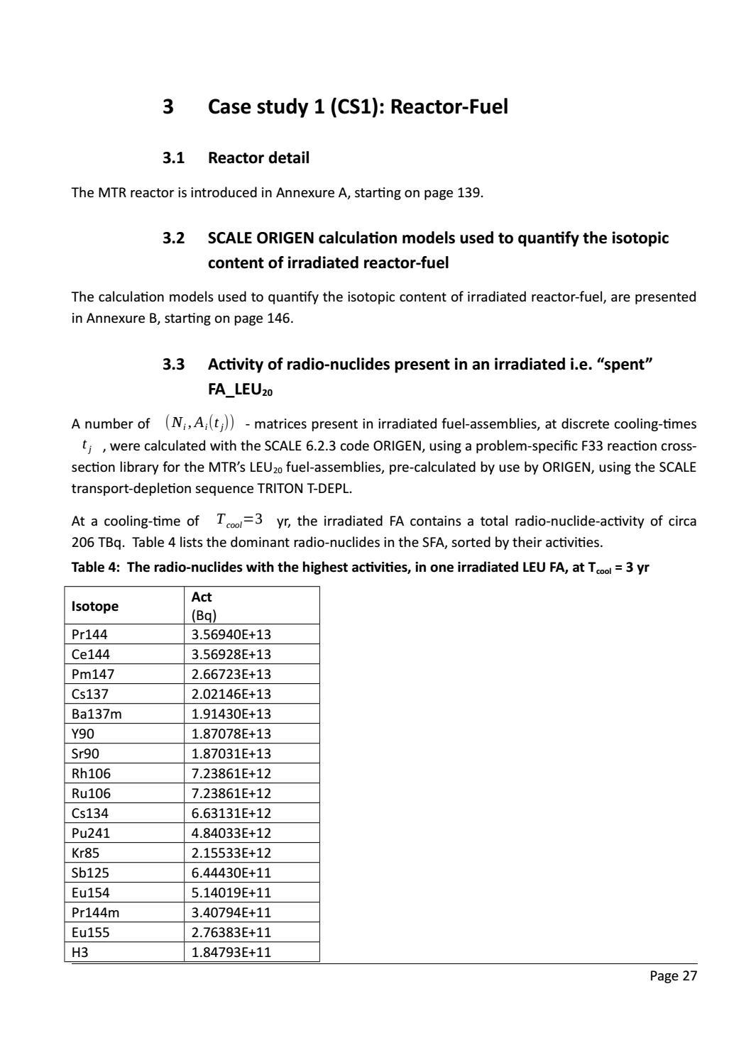 RADIOACTIVE WASTE: COMPUTATIONAL CHARACTERISATION and SHIELDING page 52