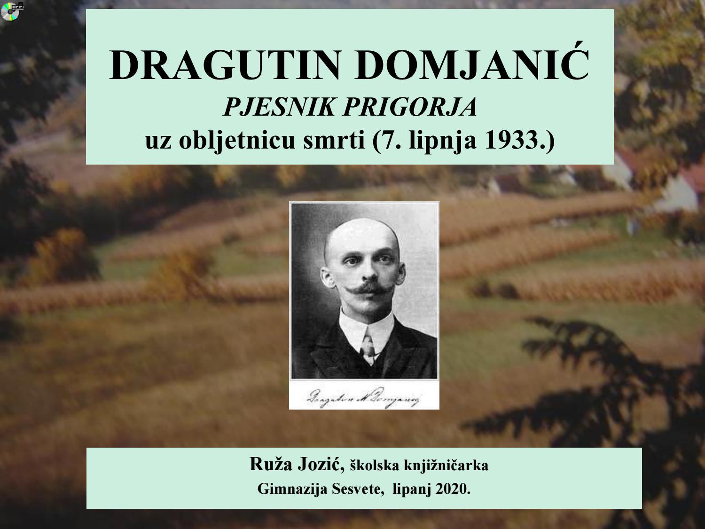 Dragutin Domjanic Pjesnik Prigorja By Ruza Jozic Issuu