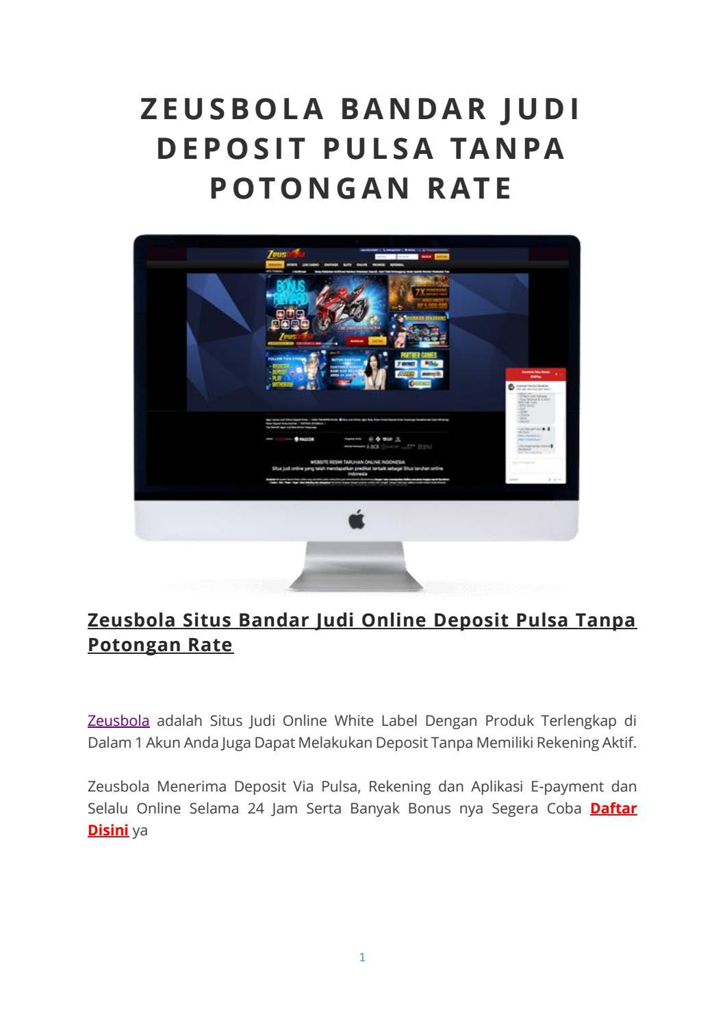 Zeusbola Bandar Judi Deposit Pulsa Tanpa Potongan Rate By Marketing Zeusbola Issuu