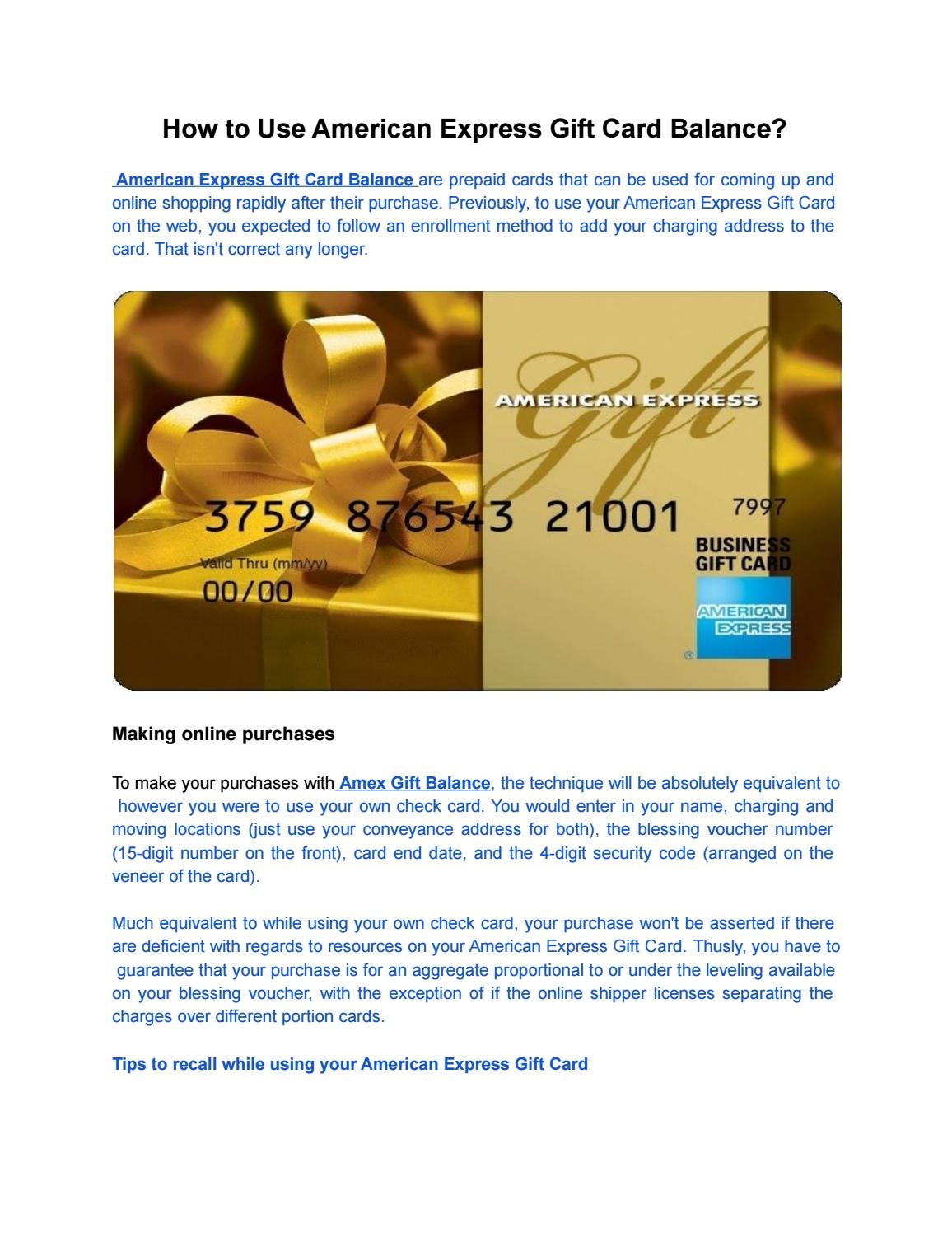 How to Use American Express Gift Card Balance? by Rory Raine - issuu