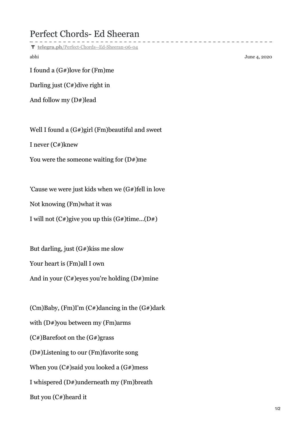 Perfect Chords   Ed sheeran by Perfect Chords   issuu