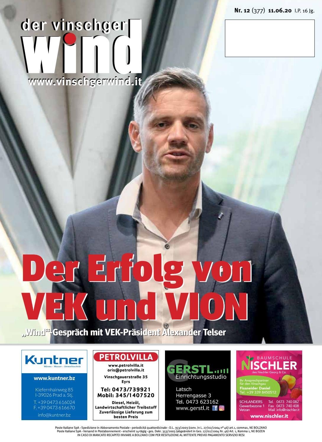 Zeitung Vinschgerwind 12 20 Vom 11 06 20 Bezirk Vinschgau Sudtirol By Vinschgerwind Issuu