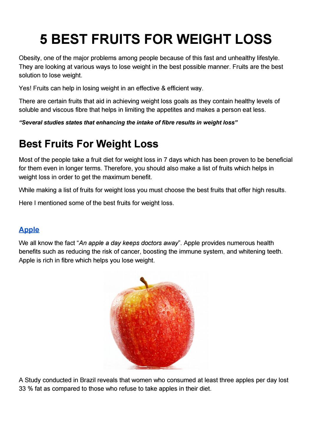 5 Best Fruits For Weight Loss By Akshay Divate Issuu