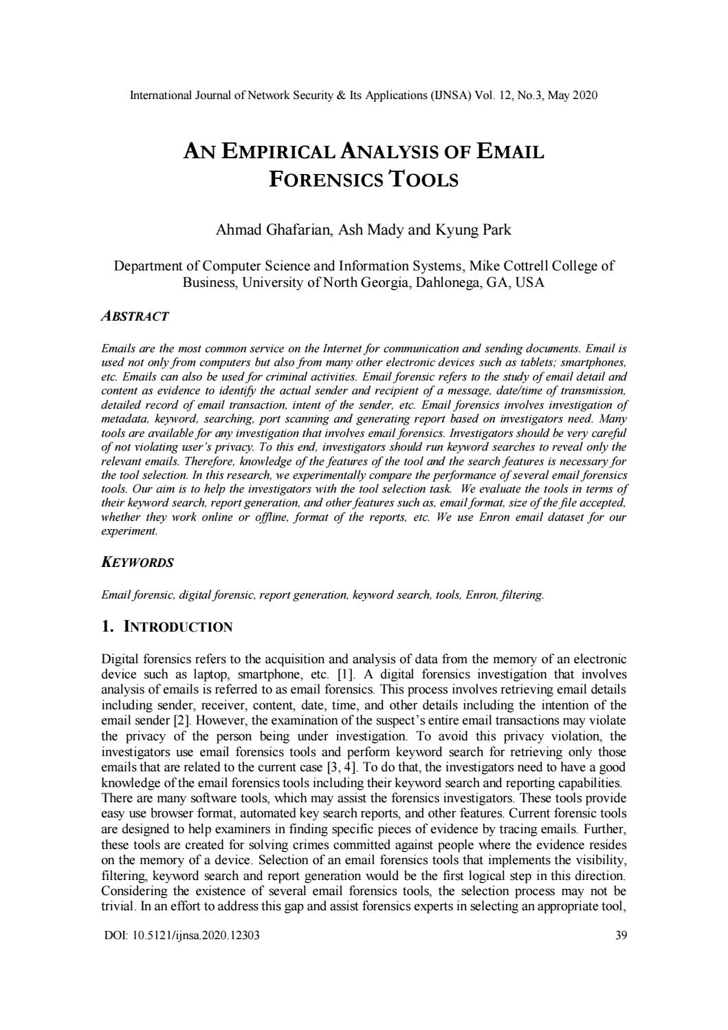 An Empirical Analysis Of Email Forensics Tools By Ijnsa Journal Issuu