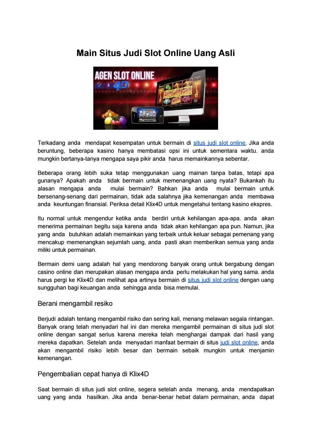 Main Situs Judi Slot Online Uang Asli By Result Togel Online Terpercaya Issuu