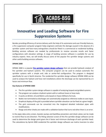 Innovative And Leading Software For Fire Suppression Systems By Acads Bsg Issuu