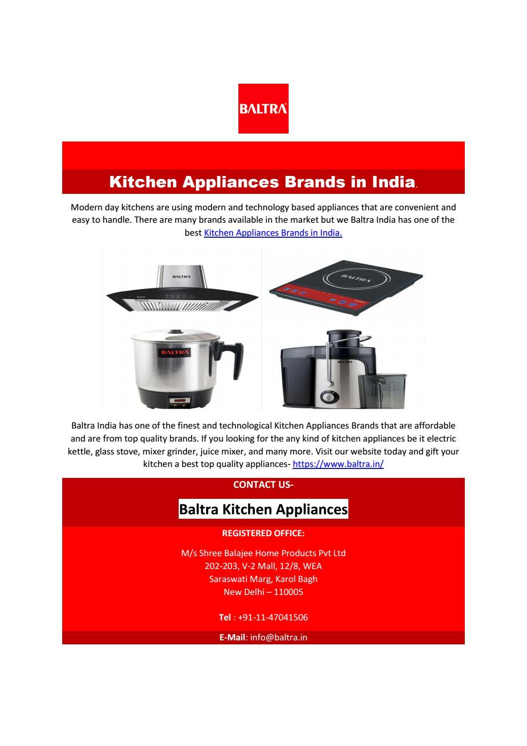 Kitchen Appliances Brands In India By Baltraappliances Issuu