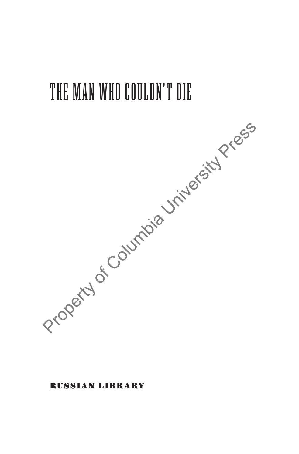 The Man Who Couldn T Die By Readrussia Issuu