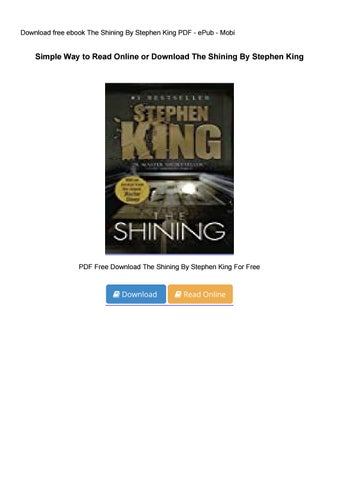 the shining stephen king ebook free download