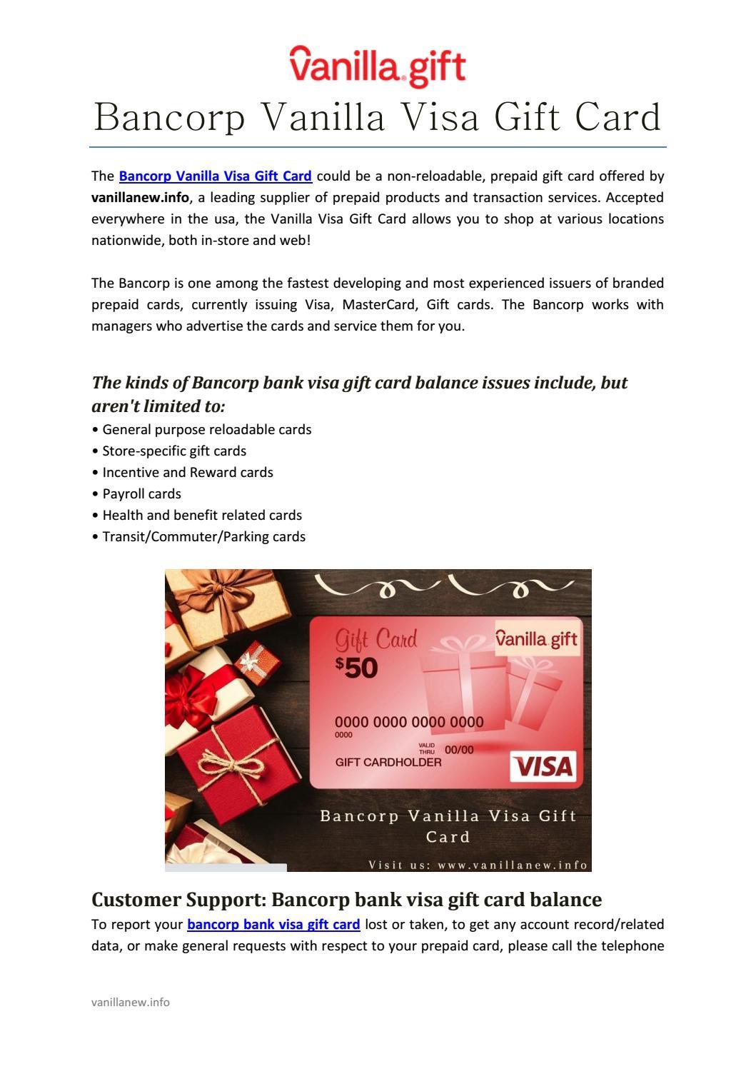 Bancorp Vanilla Visa Gift Card By Vanila Gift Issuu