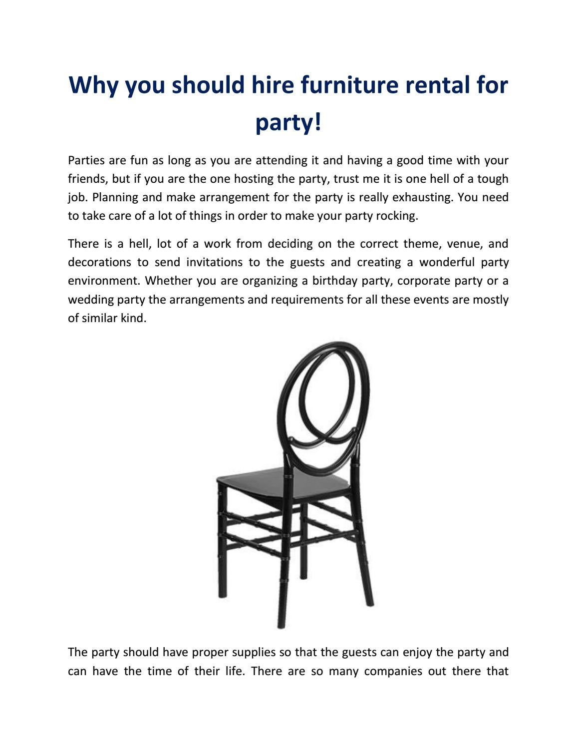 Why you should hire furniture rental for party by Expo Events and